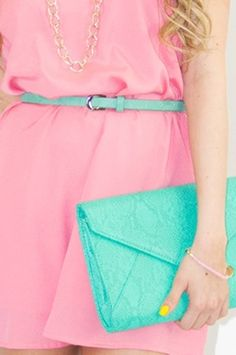 Dress + bag + nails. Just a great color combo.