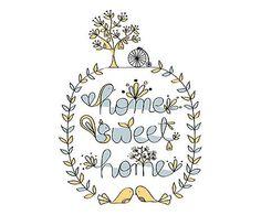 Affiche HOME SWEET HOME papier, multicolore - A3