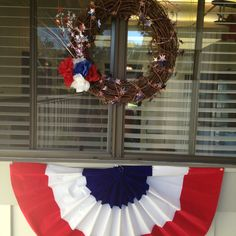 Fourth of July wreath and bunting