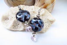 Lampwork Glass Earrings with Crystal and Sterling by jagrocks, $20.00