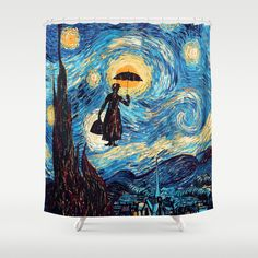 mary poppins Starry Night oil painting Shower Curtain #tardis #doctorwho #starrynight #vangogh #screamingman #flying #phonebooth #marypoppins