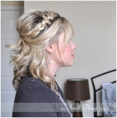 Half French Braid Half Up - Peinados Pelo Corto Half French Braids, Braided Half Up, Half Updo, Half Braid, French Twists, Braided Updo, My Hairstyle, Pretty Hairstyles, Wedding Hairstyles