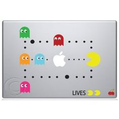Pac Man Scene Macbook Decal Mac Apple skin sticker... I wonder if this would work on my dell...