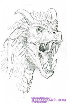 How to Draw a Dragon Head, Step by Step, Dragons, Draw a Dragon, Fantasy, FREE Online Drawing Tutorial, Added by SketchPAD, May 4, 2009, 9:35:42 pm