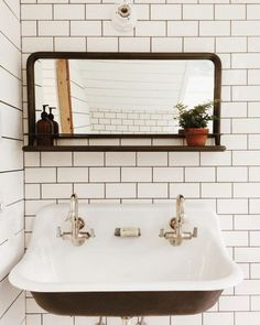 Try a trough sink with two faucets.