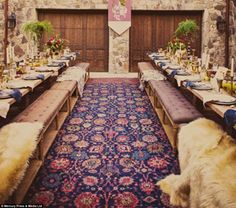 In the light of the seven: After exchanging vows guests sat down to a Game of Thrones themed meal - though hopefully with less gore and murder than at wedding feasts from the show