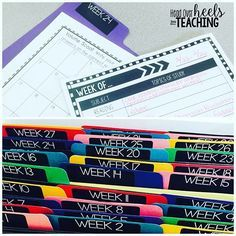 Want a head start on next year& planning? Why reinvent the wheel? I created file folders for each week and run an extra copy of any resource I use to reference next year on that week. I also jot down notes on a planning template to make planning easier t Teacher Binder, Teacher Organization, Teacher Tools, Teacher Resources, Organized Teacher, Organizing, Teaching Ideas, File Folder Organization, Teacher Stuff