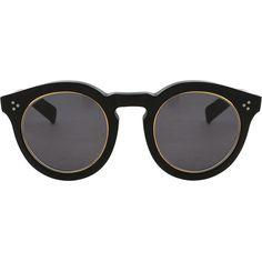 ILLESTEVA Leonard Matte Sunglasses ($346) ❤ liked on Polyvore featuring accessories, eyewear, sunglasses, glasses, sunnies, occhiali, black lens sunglasses, illesteva sunglasses, black round sunglasses and round lens glasses