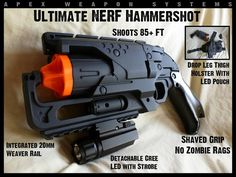 APEX TACTICAL SOLUTIONS: NERF Hammershot Mods Apex Tactical, Modified Nerf Guns, Cool Nerf Guns, Tactical Solutions, Nerf Toys, Steampunk Gun, Lego Craft, Nerf War, Apocalypse Survival