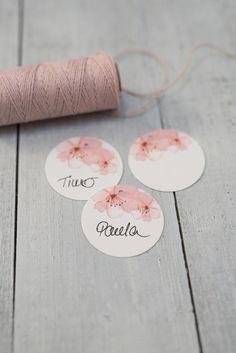 20x Hangtags »Kirschblüte« Namenskarte von Schneider's Family Business auf DaWanda.com