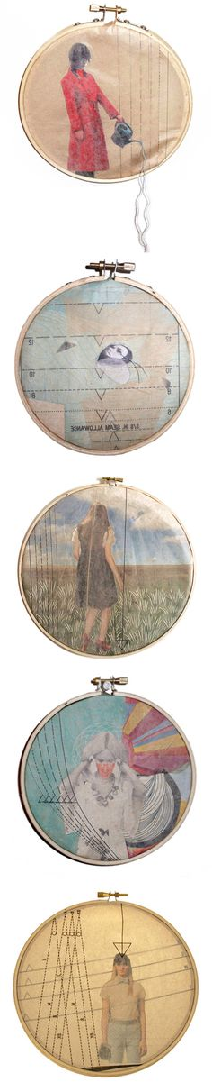 Lillianna Pereira (collages behind pattern paper, framed with embroidery hoops)