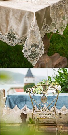 Shabby Chic Tablecloth, Living Spaces, Champion, Cottage, Beige, Embroidery, Country, Lace, Pretty