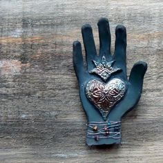 Sacred Heart Raku Wall Hand by terraworks my art brings my heart - quiet joy- Hamsa, Heart Hands, I Love Heart, Hand Of Fatima, Fire Heart, Oui Oui, Mexican Art, Felt Hearts, Ceramic Clay