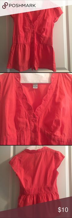 Coral shirt from ANTHROPOLOGIE Coral shirt from Anthropologie. Cap sleeves with buttons going all the way around neck line. Size 0. Worn once. Anthropologie Tops Blouses