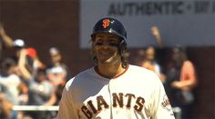 Morse gif After hitting a double to score 3 runs My Giants, Giants Baseball, Double Game, Giants Players, 2014 World Series, G Man, Best Fan, San Francisco Giants