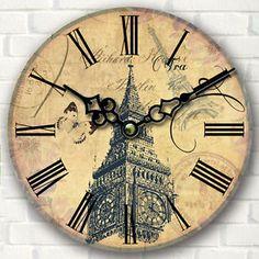 Grande-Vintage-Rustico-Reloj-De-Pared-Madera-Cocina-Antiguedad-Shabby-Chic-Retro Rustic Wall Clocks, Wood Clocks, Shabby Chic, Chic Retro, Handmade Clocks, Decoration, Ebay, Wall Art, Grande