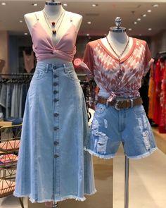 Denim Fashion, Look Fashion, Girl Fashion, Fashion Outfits, Womens Fashion, Korea Fashion, Fashion 2020, Long Denim Skirt Outfit, Cute Casual Outfits
