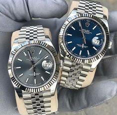 Rolex DateJust in Rhodium and Blue