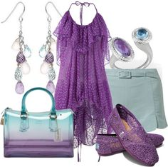 """Purple and Aqua"" by aannggiiee on Polyvore"