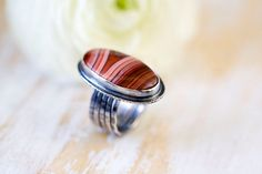 Laguna Agate Ring in Sterling Silver Cocktail Ring  by jaunebleu, $178.00