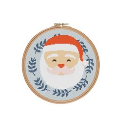 Santa Claus cross stitch Merry Christmas cross by StitcheryStitch