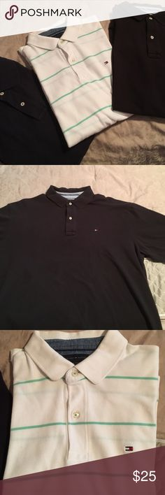 XL Tommy Hilfiger polo type shirts Short sleeved polo type shirts- all in excellent condition!  These are a re-posh....too big for my hubby!  😢. Smoke free home!  Navy, black and stripe. Tommy Hilfiger Shirts Polos