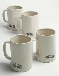 Cycle-centric Rae Dunn by Magenta Bike Mugs (Set of available at Ceramic Cups, Ceramic Pottery, Stoneware Mugs, Coffee Cafe, Coffee Mugs, Tadelakt, Posca, Mugs Set, Mug Cup