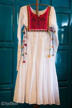 Studio-Earth-Cotton-white-Anarkali-with-embroidered-work. Choli Blouse Design, Blouse Designs, Indian Designer Outfits, Indian Outfits, Fancy Dress Design, Indian Gowns Dresses, Kurta Designs Women, Kurti Designs Party Wear, Designs For Dresses