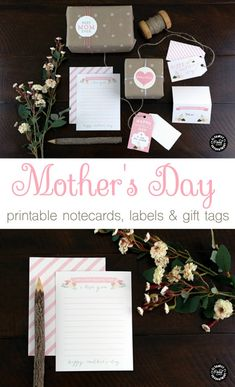 Mother's Day Printable Notecards, labels and gift tags by Elegance and Enchantment for TodaysCreativeLife.com | Click the photo for your free download.