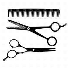 Hairdresser Equipment Scissors And Comb Hairdressing Salon Signs Hair