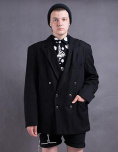 Black plain blazer vintage 90s minimalist men's jacket | Etsy