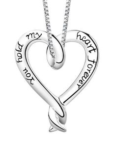 """You Hold My Heart Forever"" Silver Plated Necklace Love Pendant Women's Silver Tone Jewelry  - $21.00"