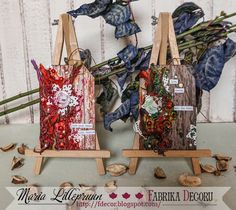 Multilayered textured mixed media tags by Maria Lillepruun