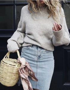 sweater + denim pencil skirt