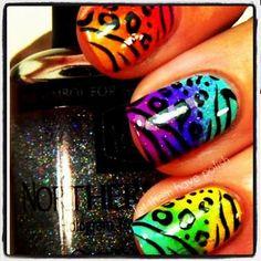 zebra print nail art nails nailpolish blue pink yellow party rainbow glitter