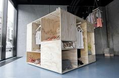Inspired by the large wooden crates used in the shipping industry, the design for Zalando's Pop-Up Store features three free-standing boxes, each revealing a seperate collection. The boxes are placed at angles to the concrete walls, guiding the visitor through the space as they discover the assorted rooms of the furniture.