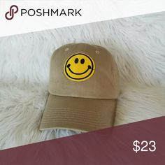 beige smily face dad hat brand new!  strap back Accessories Hats