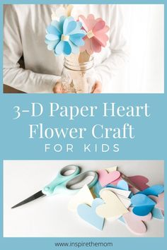 Here a fun easy 3D paper heart flower craft that you can do with your kids. #3d #paper #heart #flower #craft #for #kids #easy #fun #spring #mothersday #colorful #children #project #DIY #make #preschool #kindergarten #elementary #hearts #activity #activities #idea #homeschool #classroom Mothers Day Crafts For Kids, Easy Crafts For Kids, Fun Crafts, Paper Crafts, Father's Day Activities, Spring Activities, Educational Activities, Preschool Crafts, Preschool Kindergarten