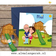 Hoera Loek heeft een broertje en hij heet Miel! De geboortekaartjes mocht ik maken.   Op deze vrolijke kaartjes is naast het gezin ook het speeltoestel dat in de tuin staat nagetekend. Aan de binnenkant van de kaartjes glijd Miel dan ook vrolijk van de glijbaan af.   Pascal, Mirjam en Loek, als jullie het lezen, heel veel geluk met zijn vieren toegewenst!  #geboortekaartjes #speeltuin #speeltoestel #glijbaan #schommel #gezin #cartoon #zwanger #portret