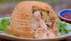 "Si and Dave served up a tasty chicken and leek suet pudding on the Hairy Bikers – Chicken and Egg. The Bikers says: ""This is a rich and flavourful take on the classic chicken and leek p… Uk Recipes, Irish Recipes, Cooking Recipes, Turkey Recipes, Steamed Pudding Recipe, Pudding Recipes, Chicken And Leek Pie, Diced Chicken, Suet Pudding"