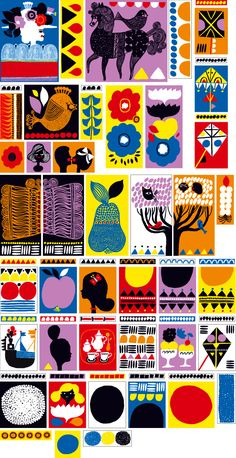 Illustrations for Helsinki Marimekko store by Aino-Maija Metsola. Art And Illustration, Pattern Illustration, Illustrations Posters, Marimekko, Poster Prints, Art Prints, Grafik Design, Creative Studio, Surface Pattern