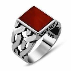 Square Modern Aqeeq Men Ring