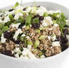 Bulgur Wheat Salad with Dried Cherries and Feta Dried Cherries, Dried Cranberries, Dried Fruit, Bulgar Wheat Salad, Feta, Acai Bowl, Grains, Salads, Cherry