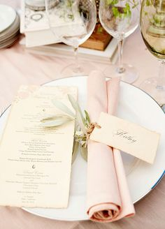 This rosemary-entwined place card is so chic!