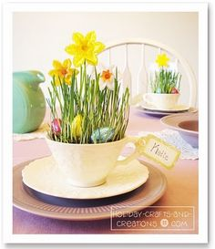 These Teacups are the perfect place card holders for a kids table for an Easter brunch!