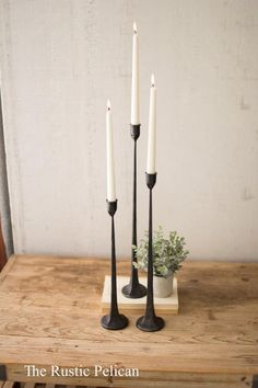 Set Of Three Tall Cast Iron Taper Candle Holders may not be exactly same as depicted in the picture. These are hand made items and may vary slightly. SKU : Freight Only : No Quantity Per Boxs : 1 Item Dimensions : 3 W x 3 D x 19 H Inches, Weight: Lbs Large Candle Holders, Large Candles, Black Candles, Candle Holder Set, Pillar Candles, Scented Candles, Beeswax Candles, Fireplace Candles, Modern Candle Holders