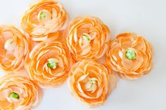 3 Coral Orange Sorbet Ranunculus - 3.5 Inches  ... silk flower, artificial flower, millinery craft by SimplySerraFloral on Etsy