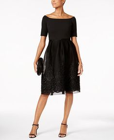 0d8e1fabba Jessica Howard Embroidered Mesh Fit   Flare Dress   Reviews - Dresses -  Women - Macy s