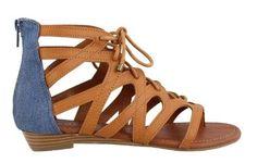 Women's Rampage, Santini Low Heel Sandal Natural Blue 8 (M) U.S. Women's, Size: 8 Medium, Beige
