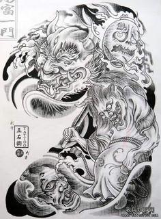 Japanese Demon Tattoo, Japanese Dragon Tattoos, Japanese Sleeve Tattoos, Tattoo Sketches, Tattoo Drawings, Geisha, Hannya Maske Tattoo, Chinese Tattoo Designs, Full Chest Tattoos